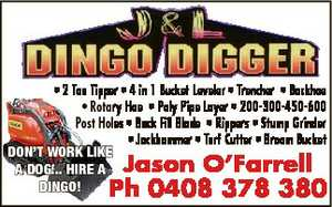 * 2 Ton Tipper * 4 in 1 Bucket Leveler * Trencher * Backhoe * Rotary Hoe * Poly Pipe Layer * 200-300-450-600 Post Holes * Back Fill Blade * Rippers * Stump Grinder * Jackhammer * Turf Cutter * Broom Bucket