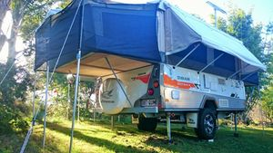 2012 Jayco Swan Outback in excellent condition with Gas & electric hot water system & external shower.   Gas Cert & RWC  Sleeps 6 - 8 with Queen bed and Double bed Inner Spring Mattresses for extra comfort.   Child Safety Catch net.   Dining table drops down to make another sleeping area  Bed Converter for club ...