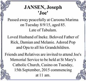 JANSEN, Joseph 'Joe'