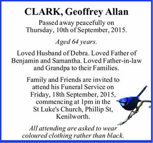 Passed away peacefully on Thursday, 10th of September, 2015.