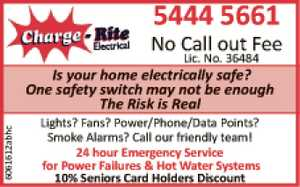 Is your home electrically Safe?   One safety switch may not be enough   The risk is real    Lights, Fans, Power/Phone/Data pointsa?  Smoke Alarms  Call our friendly team   24 hour Emergency Service   for power failures & hot water systems   10% seniors Card Holders Discount