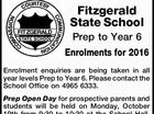 Fitzgerald State School Prep to Year 6 Enrolments for 2016