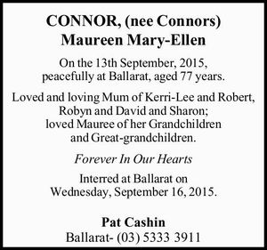 On the 13th September, 2015, peacefully at Ballarat, aged 77 years.