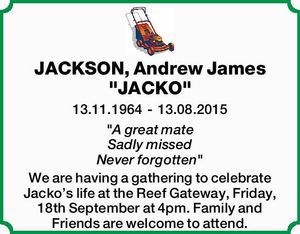 "JACKSON, Andrew James ""JACKO""