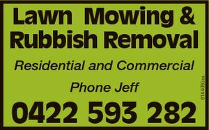 Phone Jeff 0422 593 282 