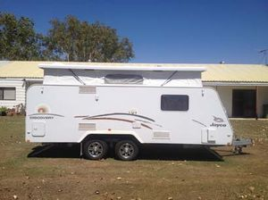 """2012, 17'6"""" Poptop,    r/o awning, twin water tanks  front boot, 2 large gas bottles  underslung dual axles  dual H/water,  full ensuite,  gas/elec cooktop  large fridge, microwave  reverse cycle air con  TV, Winegard w/up antenna  rear view camwera  twin beds, sleeps 3,  wardrobe,  large pantry, small ..."""