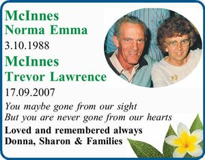 McInnesNorma Emma 3.10.1988   McInnes Trevor Lawrence 17.09.2007   You maybe gone from our sight   But you are never gone from our hearts   Loved and remembered always Donna, Sharon & Families
