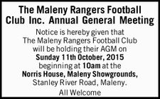 Notice is hereby given that The Maleny Rangers Football Club will be holding their AGM on Sunday 11th October, 2015 beginning at 10am at the Norris House, Maleny Showgrounds, Stanley River Road, Maleny. All Welcome