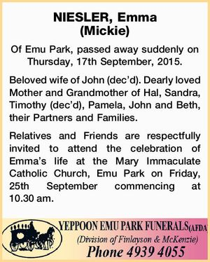 NIESLER, Emma (Mickie)