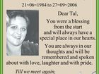 Tallie Jean O'Keefe 21~06~1984 to 27~09~2006