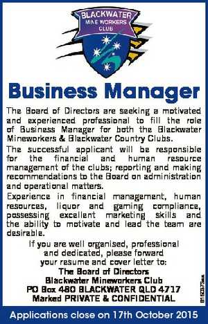 The Board of Directors are seeking a motivated and experienced professional to fill the role of Business Manager for both the Blackwater Mineworkers & Blackwater Country Clubs. The successful applicant will be responsible for the financial and human resource management of the clubs; reporting and making recommendations to the Board on ...