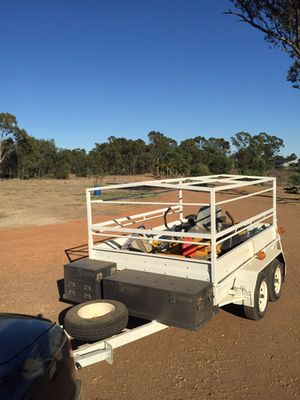 9ft x6 ft Heavy Duty new paint, Kincrome 3 drawer tool box & trunk box on drawbar. Frame for canvas cover. Consider part trade for horse float.Priced firm at $3800 PH Rob 0422305501