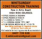 WHITSUNDAY CONSTRUCTION TRAINING Now in Airlie Beach HIGH RISK COURSES:  CPCCLDG3001A DOGMAN  CPCCLRG3001A RIGGER  TLILIC2001A FORKLIFT  TLILIC2005A BOOM TYPE EWP  RIIWHS204A WORKING AT HEIGHTS Now taking bookings for Dogmans course 05-09 Oct. Don't miss out Visit website for training calender & course details 0407 739 638 E:whitcontrain@gmail.com