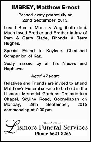 IMBREY, Matthew Ernest