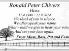 Ronald Peter Chivers Hoss 17.4.1948 ~ 22.9.2014