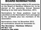 NAMBOUR ALLIANCE BOARD NOMINATIONS