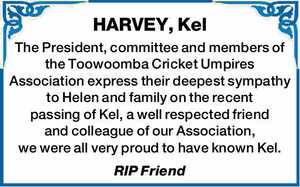The President, committee and members of the Toowoomba Cricket Umpires Association express their deepest sympathy to Helen and family on the recent passing of Kel, a well respected friend and colleague of our Association, we were all very proud to have known Kel.   RIP Friend