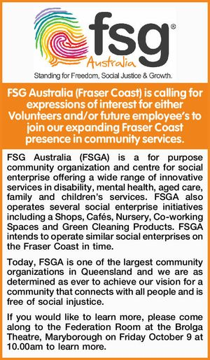FSG Australia (Fraser Coast) is calling for expressions of interest for either Volunteers and/or future employee's to join our expanding Fraser Coast presence in community services.    FSG Australia (FSGA) is a for purpose community organization and centre for social enterprise offering a wide range of innovative services in ...