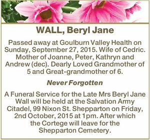 WALL, Beryl Jane