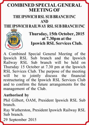 OF THE IPSWICH RSL SUB BRANCH INC AND THE IPSWICH RAILWAY RSL SUB BRANCH INC