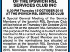 SPECIAL GENERAL MEETING OF THE IPSWICH RSL SERVICES CLUB INC