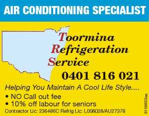 Helping You Maintain A Cool Life Style.... * NO Call out fee * 10% off labour for seniors Contractor Lic: 236486C Refrig Lic: L008028/AU27378 6156653aa Toormina Refrigeration Service 0401 816 021