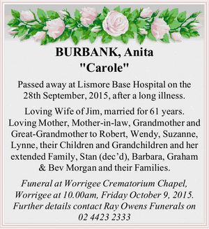 Passed away at Lismore Base Hospital on the 28th September, 2015, after a long illness.