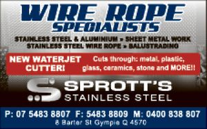 Sprott's Stainless Steel - wire rope specialists, stainless steel & aluminium, sheet metal work, stainless steel wire rope, balustrading.  New waterjet cutter - cuts through metal, plastic, glass, ceramics, stone and more!!