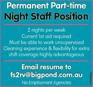 Permanent Part-time Night Staff Position 