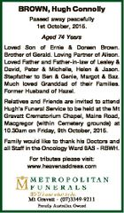 BROWN, Hugh Connolly Passed away peacefully 1st October, 2015. Aged 74 Years Loved Son of Ernie & Doreen Brown. Brother of Gerald. Loving Partner of Alison. Loved Father and Father-in-law of Lesley & David, Peter & Michelle, Helen & Jason. Stepfather to Ben & Genie, Margot & Baz. Much loved Granddad of their Families. Former Husband ...