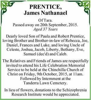 Of Tara. Passed away on 20th September, 2015. Aged 37 Years