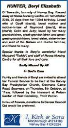 HUNTER, Beryl Elizabeth Of Tewantin; formerly of Hervey Bay. Passed away at Noosa Nursing Centre, on 1st October 2015, 20 days from her 103rd birthday. Loved wife of Geoff (dec'd); loved mother and mother-in-law of Raymond (dec'd), Ailsa (dec'd), Colin and Judy; loved by her many grandchildren ...