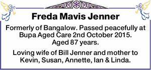 Formerly of Bangalow. Passed peacefully at Bupa Aged Care 2nd October 2015. Aged 87 years. Loving wife of Bill Jenner and mother to Kevin, Susan, Annette, Ian & Linda.