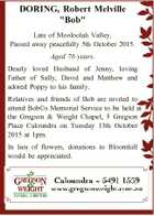 "DORING, Robert Melville ""Bob"" Late of Mooloolah Valley. Passed away peacefully 5th October 2015. Aged 76 years. Dearly loved Husband of Jenny, loving Father of Sally, David and Matthew and adored Poppy to his family. Relatives and friends of Bob are invited to attend Bob(c)s Memorial Service to ..."