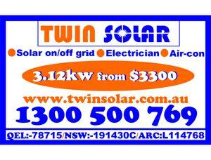 Solar on/off grid  Electrician  Air-con   3kw from $3300 www.twinsolar.com.au 1300 500 769   QEL:-78715 NSW:-191430 ESS:-AP93312 ARC:L114768 CEC:-A8906203 ACRS:-A028618