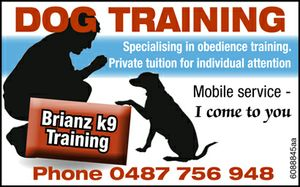 Specialising in obedience training