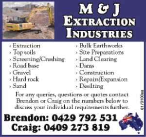 M & J Extraction Industries Pty Ltd (MJE) is an Australian owned and locally operated business with 26 years' experience in the industry.
