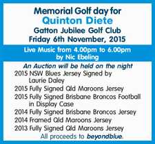 Gatton Jubilee Golf Club Friday 6th November, 2015   Live Music from 4.00pm to 6.00pm by Nic Ebeling    An Auction will be held on the night   2015 NSW Blues Jersey Signed by Laurie Daley 2015Fully Signed Qld Maroons Jersey 2015Fully Signed Brisbane Broncos Football in Display Case 2014Fully Signed ...