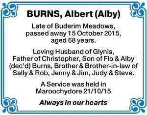 Late of Buderim Meadows, passed away 15 October 2015, aged 68 years.