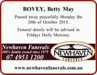 Passed away peacefully Monday the 26th of October 2015. Funeral details will be advised in Fridays Daily Mercury. www.newhavenfunerals.com.au