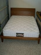 Timber sleigh bed with timber slats in gc. Can del.