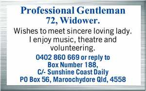 Wishes to meet sincere loving lady.