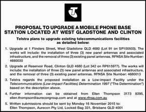 Telstra plans to upgrade existing telecommunications facilities as detailed below: 1.Upgrade at 1 Flinders Street, West Gladstone QLD 4680 (Lot 91 on SP100503). The works will include: the installation of three (3) new panel antennas and associated infrastructure, and the removal of three (3) existing panel antennas. RFNSA Site ...
