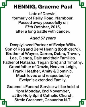 Late of Darwin, formerly of Reilly Road, Nambour.