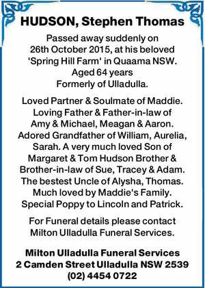 Passed away suddenly on 26th October 2015, at his beloved 'Spring Hill Farm' in Quaama NSW.
