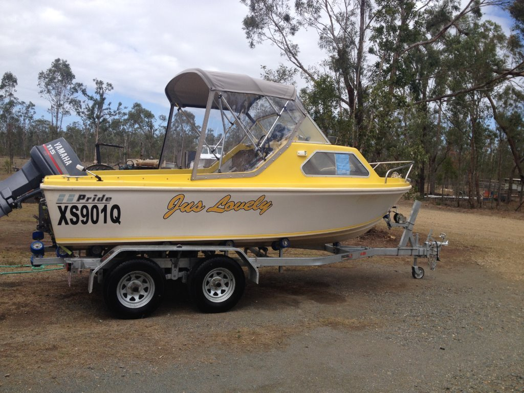 115 two stroke. New canopy, storm covers, trailer. Serviced with a RW. $14000 ono. In excellent condition  Rockhampton.