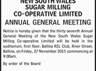 NEW SOUTH WALES SUGAR MILLING CO-OPERATIVE LIMITED ANNUAL GENERAL MEETING