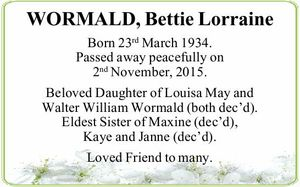 Born 23rd March 1934. Passed away peacefully on 2nd November, 2015.