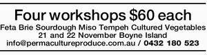 Four workshops $60 each Feta Brie Sourdough Miso Tempeh Cultured Vegetables 21 and 22 November Boyne Island info@permacultureproduce.com.au / 0432 180 523