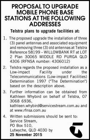 PROPOSAL TO UPGRADE MOBILE PHONE BASE STATIONS AT THE FOLLOWING ADDRESSES Telstra plans to upgrade facilities at: 1.The proposed upgrade the installation of three (3) panel antennas and associated equipment and removing three (3) old antennas at Telstra Reference 58199 – WILLOWBANK RT at LOT 2 Plan 30065 MIDDLE RD ...